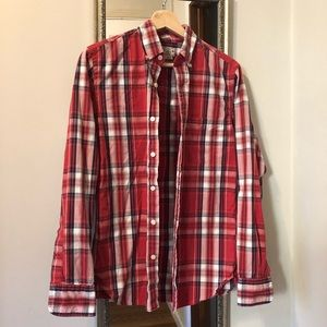 | J. Crew slim fit red navy plaid shirt size small
